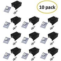 Easycargo 10pcs TO-220 disipador calor completo Kit, TO-220 disipador calor Set incluye Negro Anodizado Aluminio TO-220 disipador aislador corte + tornillo + arandela + casquillos y goma silicona