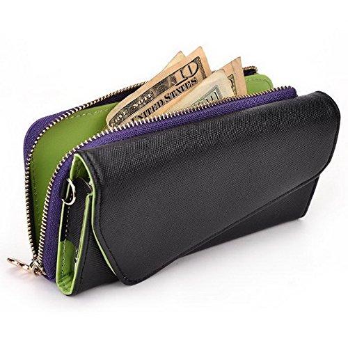Kroo d'embrayage portefeuille avec dragonne et sangle bandoulière pour Motorola Moto X (2014)/G (2015) Multicolore - Noir/rouge Multicolore - Black and Purple