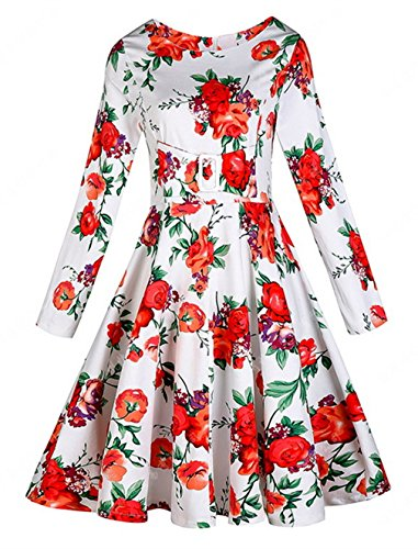 Lukis Damen Cocktailkleid Knielang Kleid Retro Casual Rot -eppics ...