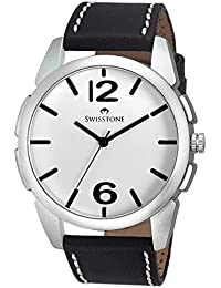 Swisstone FTREK612-WHT-BLK White Dial Black Strap Analog Wrist Watch For Men/Boys
