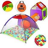 KIDIZ® Spielzelt Spielhaus Babyzelt 200 Bälle Bällebad Kinderzelt | Ideal für Zuhause & im Garten | Tasche | Tunnel