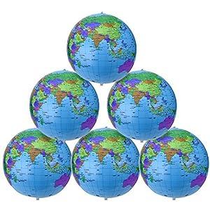 16 Pulgadas de Globo Inflable Globo Terráqueo Globo de Bola de Playa para Juego Educativo y de Playa, Colorido (6 Piezas)