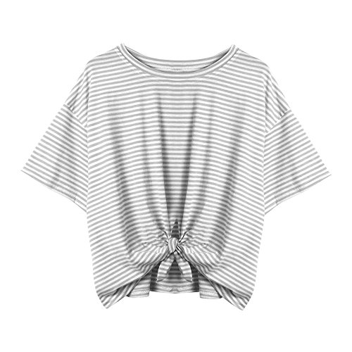 Lace-up Crop Top (Lonshell_Damen Tops Damen Gestreiftes Bauchfrei T-Shirt, Sommer Kurzarm Crop Tops Teenager Mädchen Sport Oberteile Bluse Lace up Hemd Pullover (Grau, S))