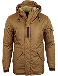 Reslad Herren-Parka warme Teddy-Fleece Kapuzen Winter-Jacke RS-9006
