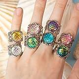Anillo de sirena Thalion: anillo de sirena sobre una base de filigrana de plata y varios colores de piedra en escamas, un regalo perfecto para ella
