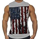 DAY.LIN Soldes sans Manches T-Shirt Débardeur Hommes Été Pullover Blouse Sport Fitness Imprimée Muscle Vest Tank Tops Sweatshirt(Large,Gris)