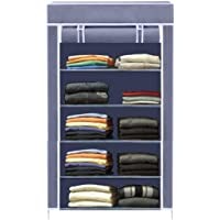 Asian Collapsible Wardrobe Armoire almari Closet Clothes Storage Rack 5 Shelves 5 Sides, Quick and Easy to Assemble…