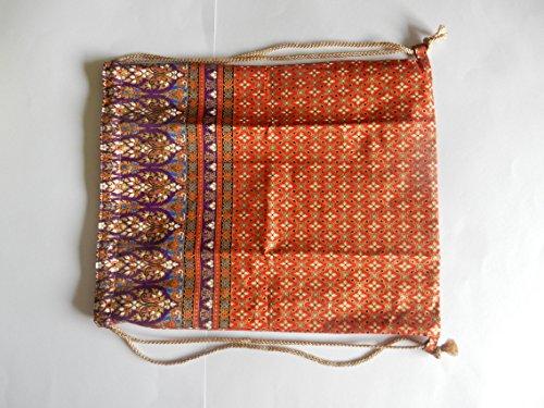 Turnbeutel, Sportbeutel, Rucksack aus Baumwolle, mit Thai Muster - verschiedene Farben Orange