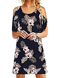 0805be841c YOINS Mini Robe Femmes Robe Manche Courte Tee-Shirts Robes D'été Casual Col