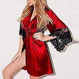 Bellelove♚1 Stück Damen Bademantel, Gemütlich Frauen Sexy Silk Kimono Dressing Babydoll Dessous Gürtel Bademantel Nachtwäsche Nachthemd Nachtkleid Sleepwear Kleid