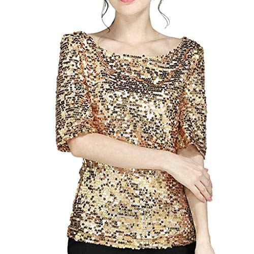 Collar S Half Sequin Tops Blouse Loose Women' Casual Sparkly Round Large Bazhahei Sleeve T Gold Size Sexy Crop Party Shirt hrodtQxsBC