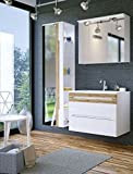 Badmöbel Set GALAXY-V 80 mit Waschbecken Keramik LED (Waschtisch, Spiegelschrank Hochschrank, WEIS HOCHGLANZ / EICHE MATT)