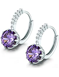 MASOP Charming 925 Sterling Silver Huggie Hoop Earrings for Women with 9mm Round Birthstone CZ,9 Colors