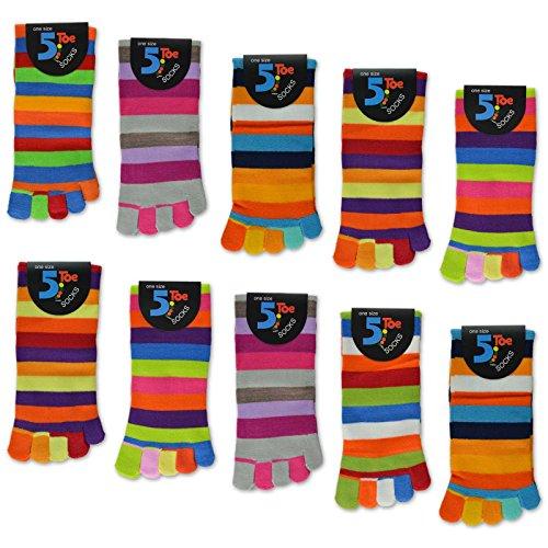 sockenkauf24Mujer Calcetines de cinco dedos Multicolor Ringel 5o 10pares Multicolor 5 Paar | Farbmix