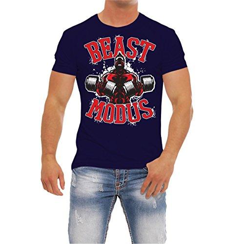 Männer und Herren FITNESS T-Shirt BEAST MODUS (mit Rückendruck) Navy