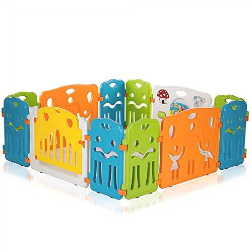 Baby Vivo Laufgitter Laufstall Baby Absperrgitter Krabbelgitter Schutzgitter für Kinder aus Kunststoff mit Tür und Spielzeug - COLORS XL erweiterbar - Modell 2018 - 6