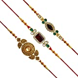 #3: Jaipur Mart Set of 3 Kundan Rakhi Gift for Brother Latest Rakhi Gift (RKH01CMB)