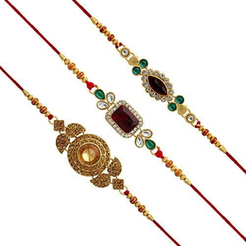 Jaipur Mart Set of 3 Kundan Rakhi Gift for Brother Latest Rakhi Gift (RKH01CMB)