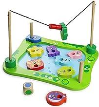 Juguete Magnético de Madera de la Pesca Juego de Pesca Apilamiento de Rompecabezas para Niños de 3 Años de Edad