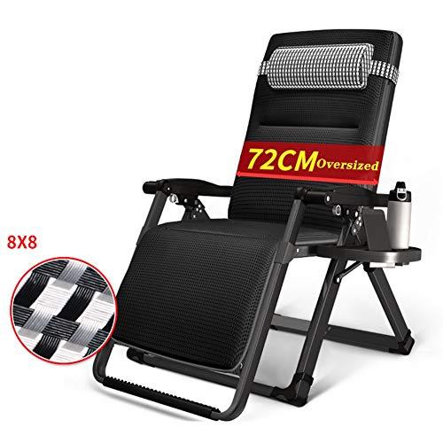 Liegestuhl Übergroße Schwerelosigkeit Stuhl, Verstellbarer Klappsessel Mit Kopfstütze Und Getränkehalter, Heavy Duty Black Deck Chair - Unterstützt 330lbs