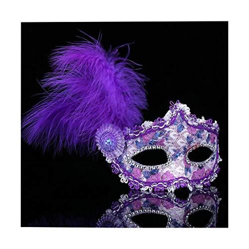 CIPOPO Spitze Maskerade Maskerade Maske venezianischen Stil Crystal Strass Cosplay Feder Maske Kostüm Halloween Karneval Maskentanzabend Party Kostüm (Lila)