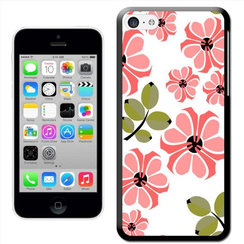 Fancy A Snuggle 'Sketch of Pretty Pink Blumen' Hard Case Clip On Back Cover für Apple iPhone 5C Pink Flowers & Green Leaves
