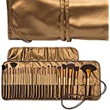 Skinplus 24 Pieces Professional Makeup Brush Set With Travel And Carry Case - Golden