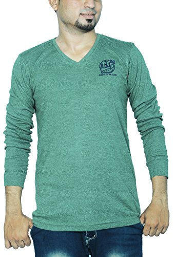 Henry Cotton Men's V Neck Full Sleeve Cotton T Shirt ( Pastel Green_XL)  available at amazon for Rs.499