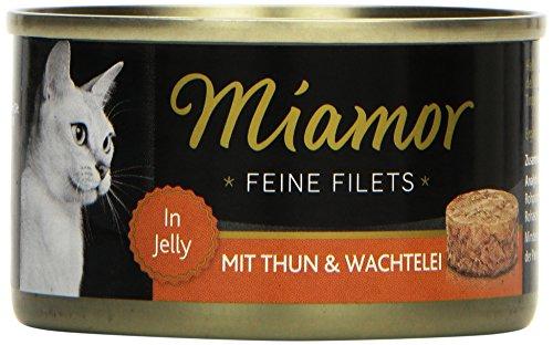 Miamor Katzenfutter Feine Filets Thunfisch+Wachtel 100 g, 24er Pack (24 x 100 g) Filet