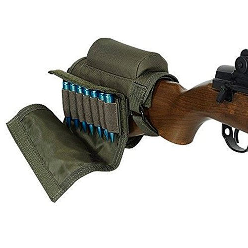 Kingnew Portable Verstellbare Halterung Shell Hinterschaft Waffengewehr Cheek Rest Pouch Holder Ammo Carrier Case (Armee Grün) -