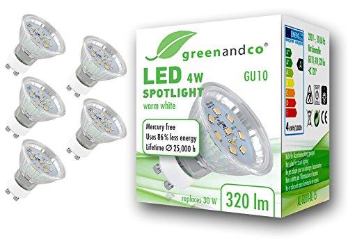 5x greenandco® LED Spot ersetzt 30 Watt GU10 Halogenstrahler, 4W 320 Lumen 2700K warmweiß SMD LED Strahler 120° 230V AC Glas mit Schutzglas, nicht dimmbar, 2 Jahre Garantie