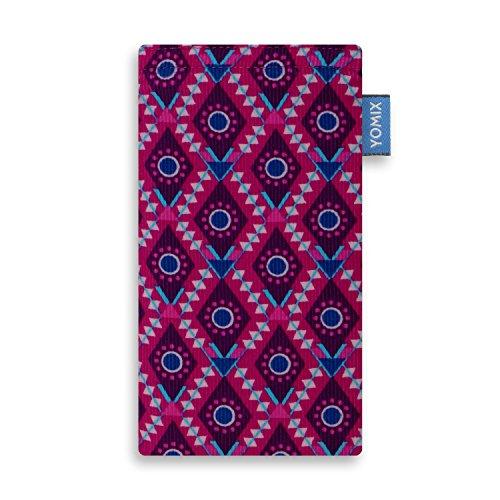 YOMIX Handytasche | Tasche | Hülle Maja Rot für Alcatel A7 XL aus Cordstoff mit Genialer Display-Reinigungsfunktion durch Microfaserinnenfutter