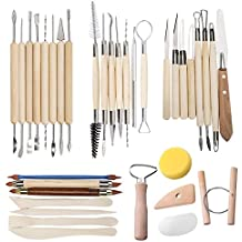 TooTaci 35 PCS Clay Sculpting Tools Pottery Carving Tool Set - Includes Clay Color Shapers, Modeling Tools & Wooden Sculpture Knife