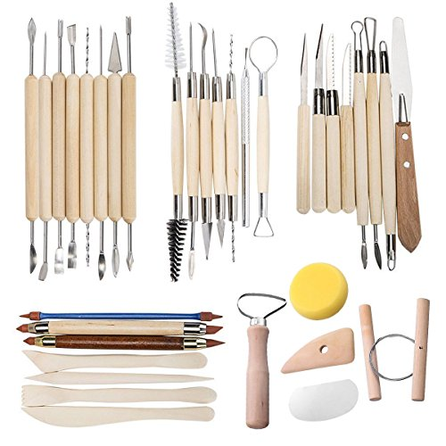 TooTaci 35 PCS Clay formbare Tools Keramik Carving Werkzeug Set - Inklusive Clay Farbe Shapers, Modeling Tools & Skulptur aus Holz Messer