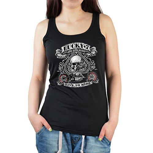 Skull-Biker/Girlie-Top/Träger-Shirt/ Damen Tank Top: Lucky 7 cooler Look