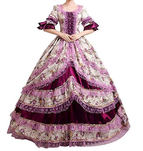 Nuoqi® Femmes Satin gothique victorien princesse robe Halloween Fancy Dress Cosplay Costume CC2377A