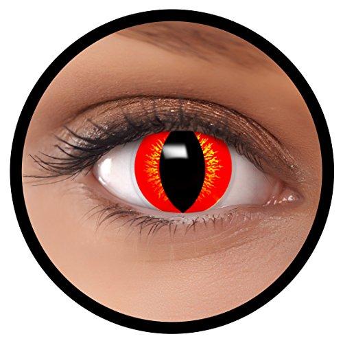 FXEYEZ® Farbige Kontaktlinsen gelb rot Drache + Linsenbehälter, weich, ohne Stärke als 2er Pack - angenehm zu tragen und perfekt zu Halloween, Karneval, Fasching oder Fasnacht