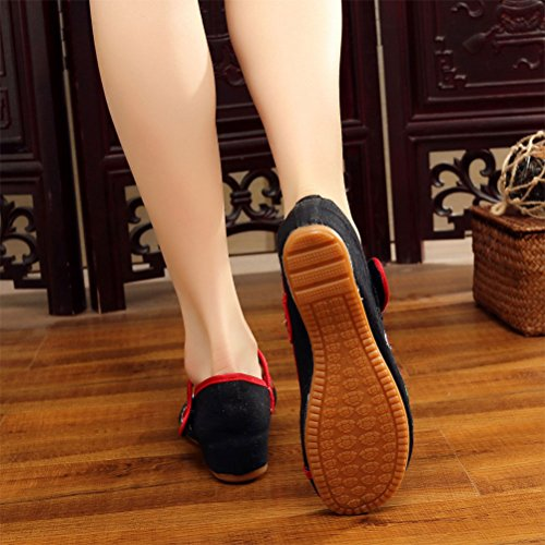 Zhhlaixing Chinese Womens Traditional Embroidery Cloth Shoes Durable Casual Shoes Black