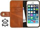 StilGut Funda de Cuero Genuino Talis Book Type para Apple iPhone SE de Cuero Original con Compartimiento para Tarjetas de crédito y de Visita, Negro