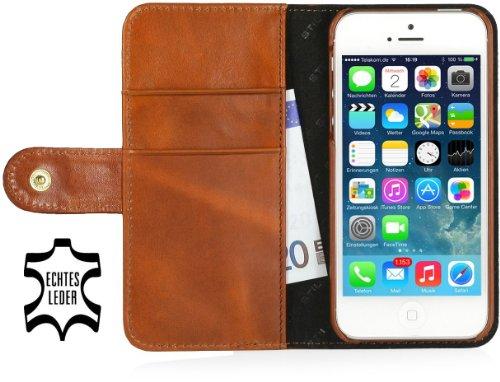StilGut Leder-Hülle kompatibel mit iPhone 5/5s/iPhone SE Brieftasche mit Karten-Fächer und Druckknopf, Cognac
