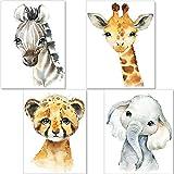 artpin® 4er Set Bilder Kinderzimmer Deko Junge Mädchen - DIN A4 Poster Tiere - Safari Afrika Wandbilder - Porträt Elefant Tiger Giraffe Zebra (P35)