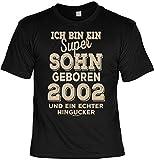 Tini - Shirts T-Shirt 16 Geburtstag - Geburtstagsshirt Sprüche Jahrgang 2002 : Ich Bin ein Super Sohn Geboren 2002 - Geschenk-Shirt Zum 16.Geburtstag Junge Gr: M
