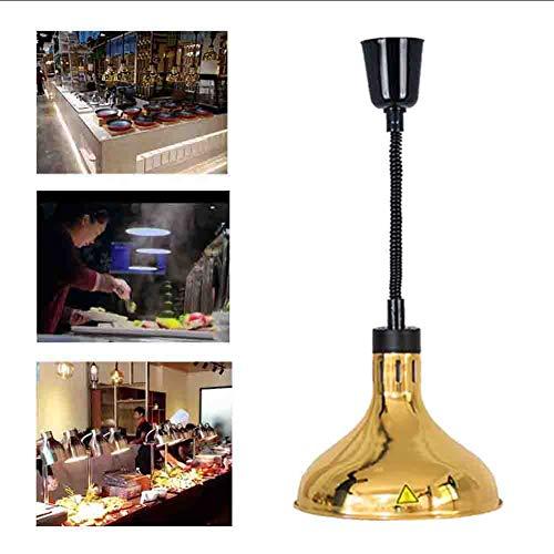 Schwarz-gold-buffet-lampe (Lampe zum Erhitzen von Lebensmitteln Hotel Buffet Food Insulation Lampe Single Head Einstellbare Länge Teleskop Heizung Kronleuchter 220v,Gold)