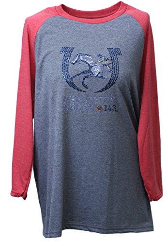Nitro USA Offizielles Lizenzprodukt Damen Kentucky Derby 143rd Strass Raglan Shirt, Damen, Red/Heather, Medium -