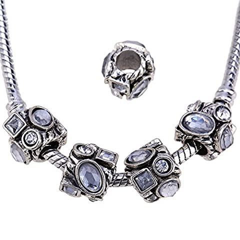 rubyca Kristall Strass Silber tibetischen Metall Charme Perlen Kristalle Schmuckherstellung, metall, Model 47, 30 PCS