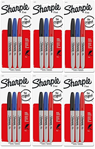 Sharpie Fine Point Permanent Colored Markers, [30173PP] 3 Count Packs Total 18 Markers by - Fine Sharpie Point, 3-pack