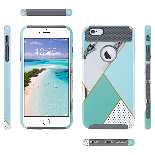 Cover per iPhone 6S, ULAK Custodia iPhone 6 Cover con design slim con doppio strato di protezione anti collisioni in silicone per Apple iPhone 6S / iPhone 6 (4.7 pollici), Mint Marmo Mint Marmo