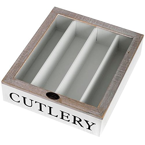 Hill Interiors Country Cutlery Box, White/Limed Brown
