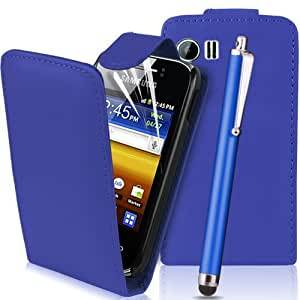 Dark Blue Samsung Galaxy Young PU / Leather Flip Case with Stylus and Screen Protector - S5360