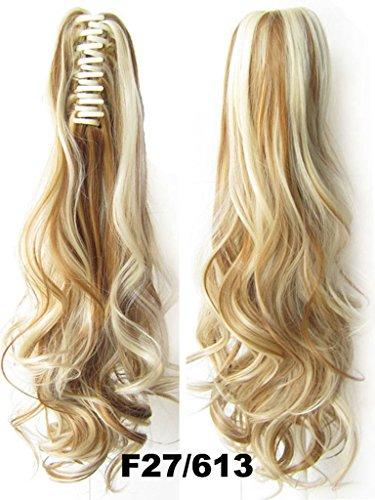 Queen Wig Reine longue perruque vague Ponytail Griffe clip dans le morceau de cheveux Extension postiche - #27/613 Honey Blonde/Bleach Blonde